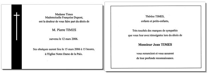 Cartes De Deuil Et Remerciement